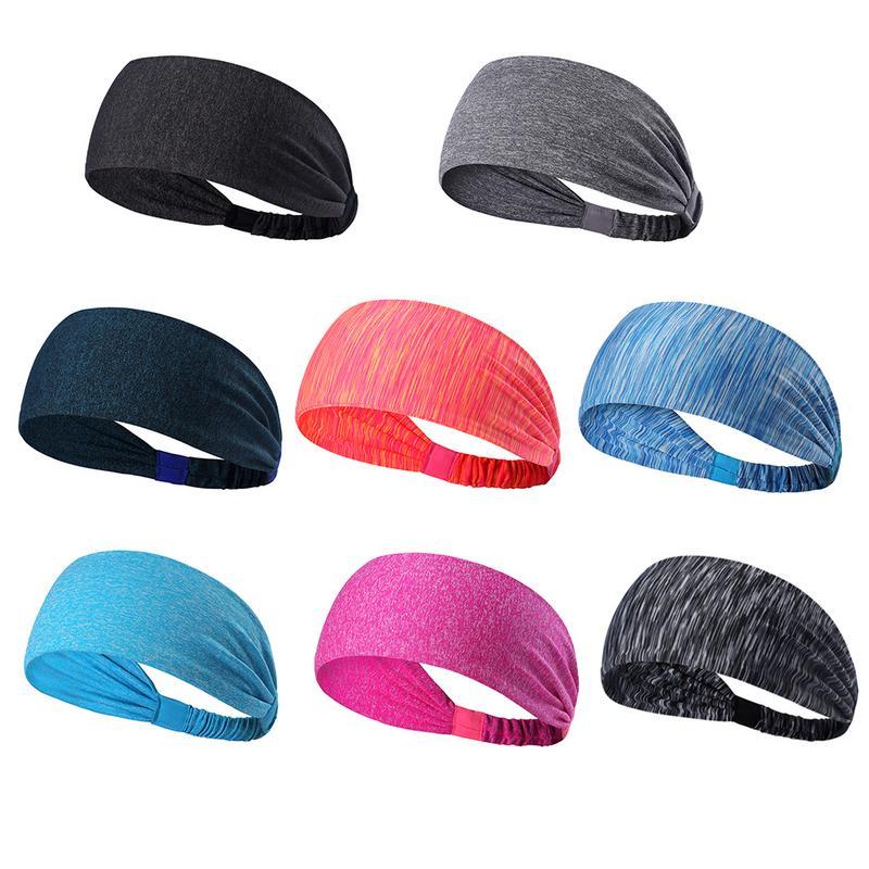 12-pcs Women Men Sport Sweatband Headband Yoga Gym Stretch Basketball Hair Band