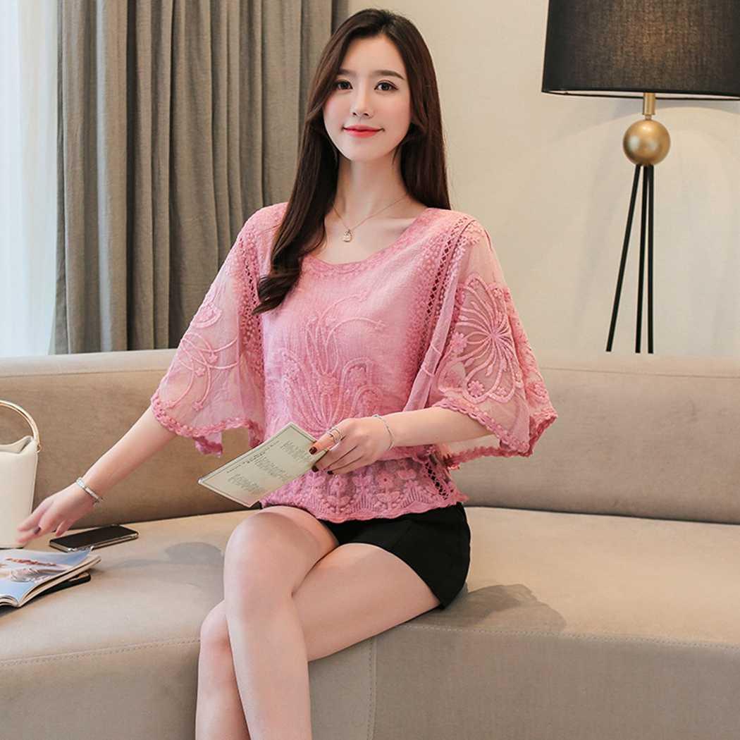 2019 新ファッションのレースの花シフォンブラウス女性蝶トップスエレガントな女性の夏ルースオフィスシャツ Blusas Mujer