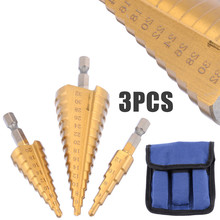 Mayitr 3Pcs Cone Drill Bit HSS Steel Titanium Coated Step Set Peeling For Mild Aluminum Pieces