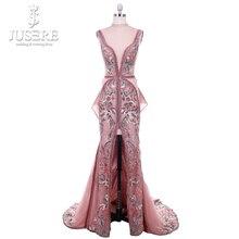 2018 Jusere מזרח התיכון קמיע חום למעלה לראות דרך רקום Appliqued ערב שמלות פיצול צד באורך רצפת שמלת הנשף