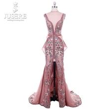 2018 Jusere Midden oosten Cameo Bruin Top See Through Geborduurde Geappliceerd Avondjurken Split Side Floor Length Prom Gown