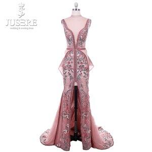 Image 1 - 2018 Jusere Midden oosten Cameo Bruin Top See Through Geborduurde Geappliceerd Avondjurken Split Side Floor Length Prom Gown