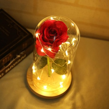 LED Beauty Rose and Beast Battery Powered Red Flower String Light Desk Lamp Romantic Valentine's Day Birthday Gift Decoration30 1