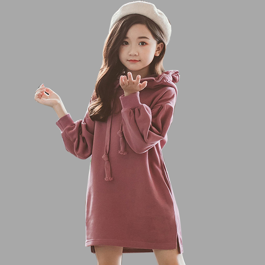 Robe pour filles automne filles chemise robe à capuche épais chaud survêtement enfants automne hiver adolescent vêtements pour filles 5-14 ans