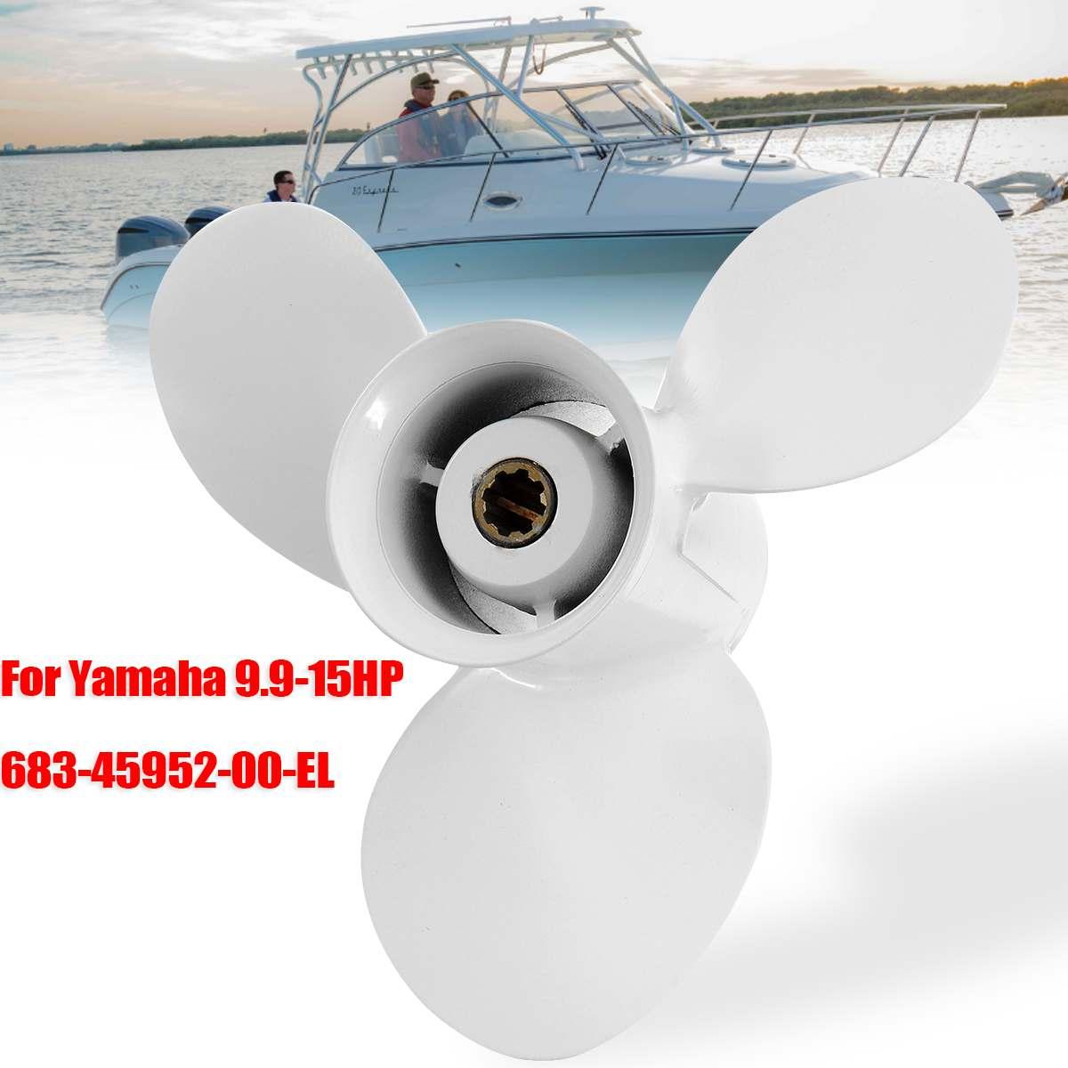 683-45952-00-EL 9 1/4x9 3/4 Barca Fuoribordo Elica Per Yamaha 9.9-15HP In Lega di Alluminio 3 Lame 8 Spline tooths Bianco