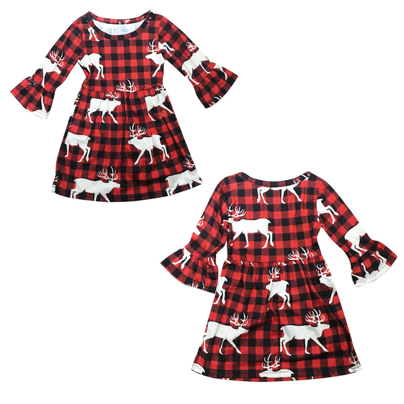 New Year's <font><b>Dress</b></font> For <font><b>Girls</b></font> 2019 Xmas Toddler Baby <font><b>Girl</b></font> <font><b>Long</b></font> <font><b>Sleeve</b></font> <font><b>Red</b></font> <font><b>Dress</b></font> Check Plaid Princess <font><b>Christmas</b></font> Deer Printed <font><b>Dresses</b></font> image