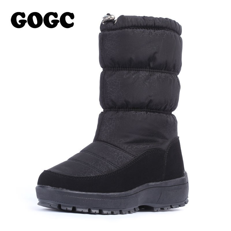 40588aa50317d GOGC Warmful Snow Boots for Women High Quality Mid-calf Winter Boots Women  Waterproof Non