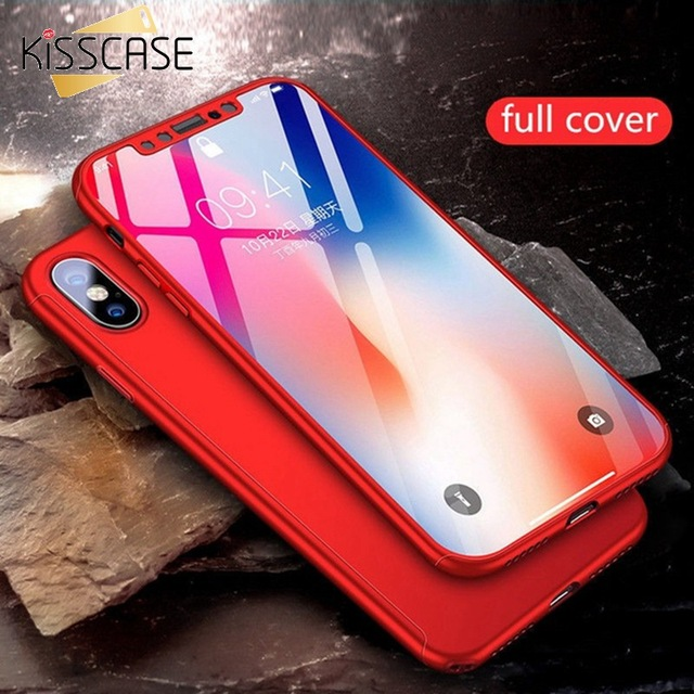 KISSCASE 360 Full body Phone Case for Xiaomi Redmi S2/3S/4A/4X/5/6Pro/Note3/4/5/6/7+ Tempered Glass For Mi 5X/6X/8/8 Lite funda