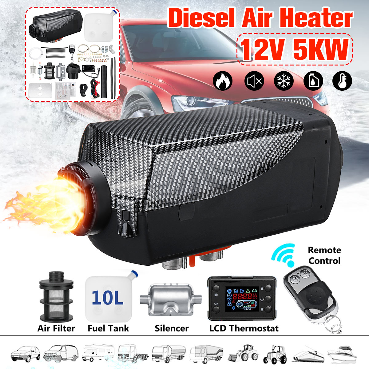 5KW 12V Diesel Air Heater LCD Remote Control Silencer For Truck Boat Car Trailer