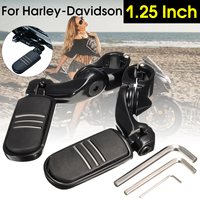 Black 1.25 3.2cm Adjustable Short Angled Foot Rests Foot Pegs Pedals and Allen Key For Harley Davidson Aluminum alloy Rubber