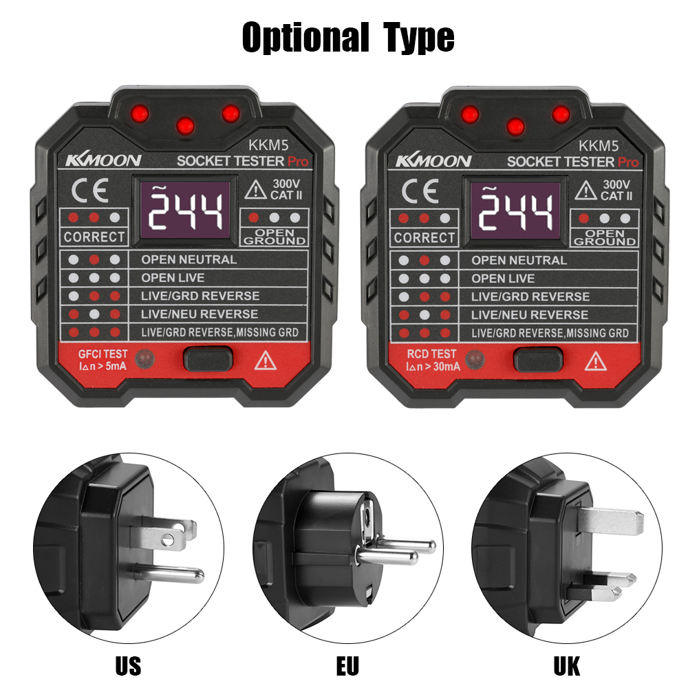 Image 3 - KKmoon KKM5 Mini Digital Socket Detector Power Socket Wiring Detection Wall Plug Breaker Finder RCD Test Socket Tester EU/UK/US-in Circuit Breaker Finders from Tools