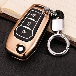 Çinko alaşım + aydınlık araba uzaktan anahtar kılıfı için Ford Fiesta odak 2 3 MK2 MK3 Mondeo MK4 Ecosport kuga Escape Explorer Ranger
