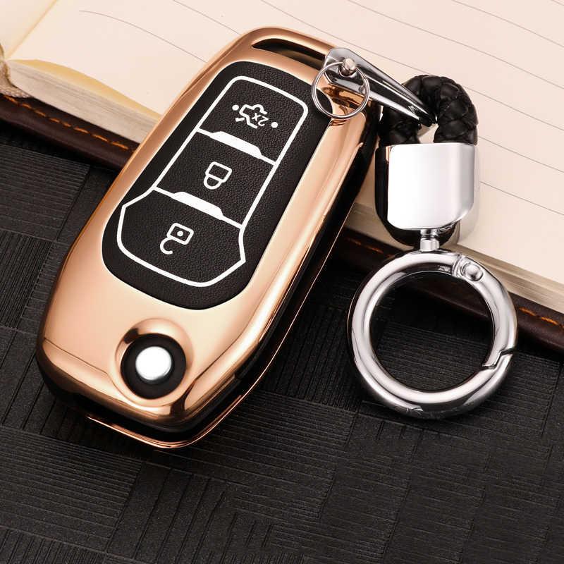 Alliage de Zinc + couvercle de boîtier de clé à distance de voiture lumineuse pour Ford Fiesta Focus 2 3 MK2 MK3 Mondeo MK4 Ecosport Kuga Escape Explorer Ranger