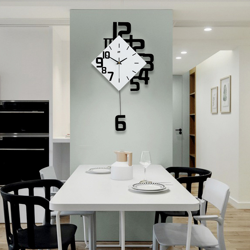 Swing Wall Clock Nordic Style Living Room Wall Clocks Fashion Creative Bedroom Silent Quartz Watches Modern Design image