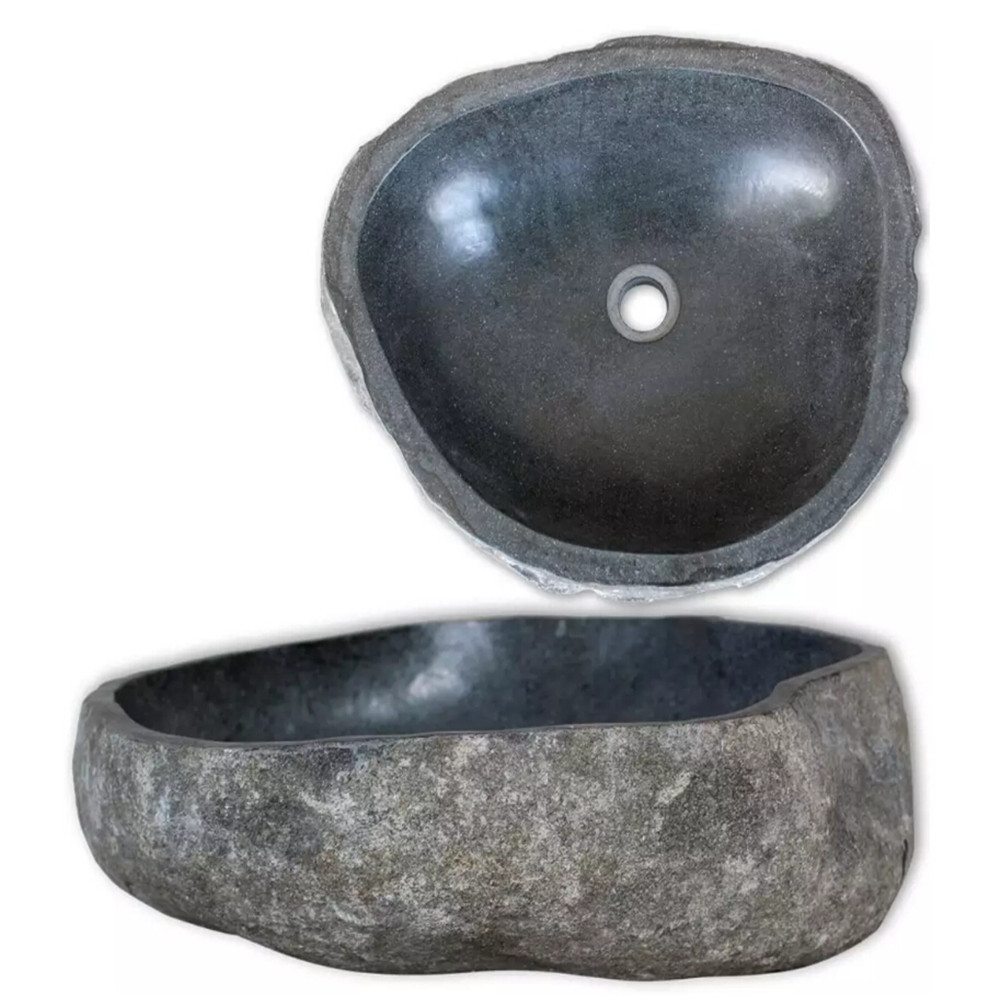VidaXL Basin River Stone Oval 30-35 Cm Natural Oval-Shaped Bathroom Washroom Wash Basin Easy Cleaning Bathroom Decoration 242666