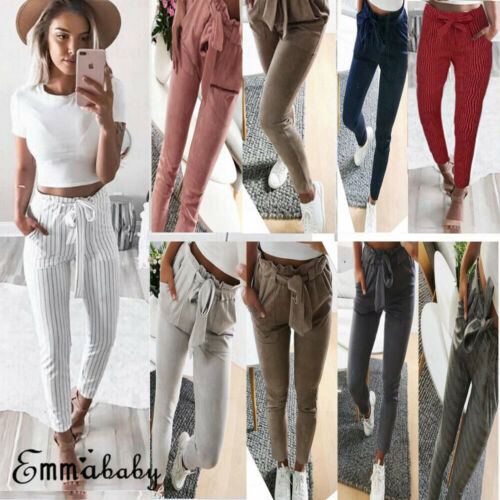 US Women Casual  Striped Ninth Pants Tie High Waist Ladies Skinny Casual Pencil Trousers