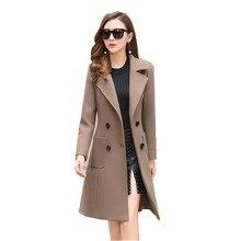 2018 новое шерстяное пальто женская зимняя модная Длинная Верхняя одежда шерстяное тонкое пальто костюм-платье парка пальто женские куртка casacos Mujer