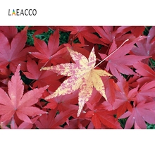 Laeacco Autumn Red Maple leaves Backdrop Portrait Photography Backgrounds Customized Photographic Backdrops For Photo Studio