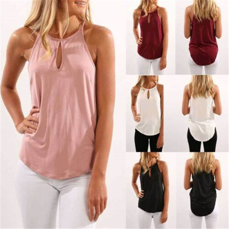 2019 New Fashion Hot Sexy Ladies Women Summer Blouse Top Sleeveless Shirt Casual O Neck Shirt