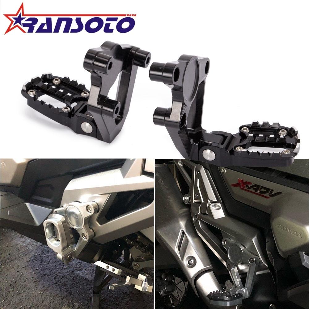 RANSOTO CNC Aluminum Folding Rear Set Footrest Foot Pegs Pedal Passenger Rearsets for HONDA X ADV