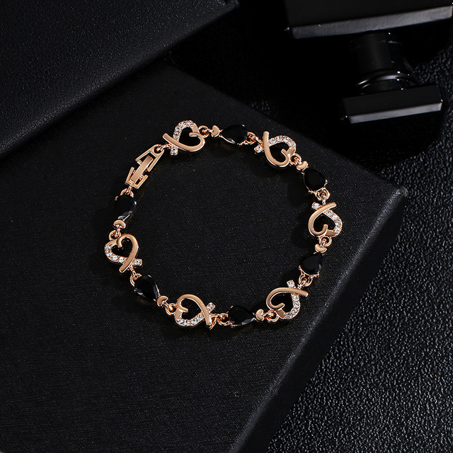 Фото модные золотистые хрустальные браслеты с цепочкой полые в форме цена