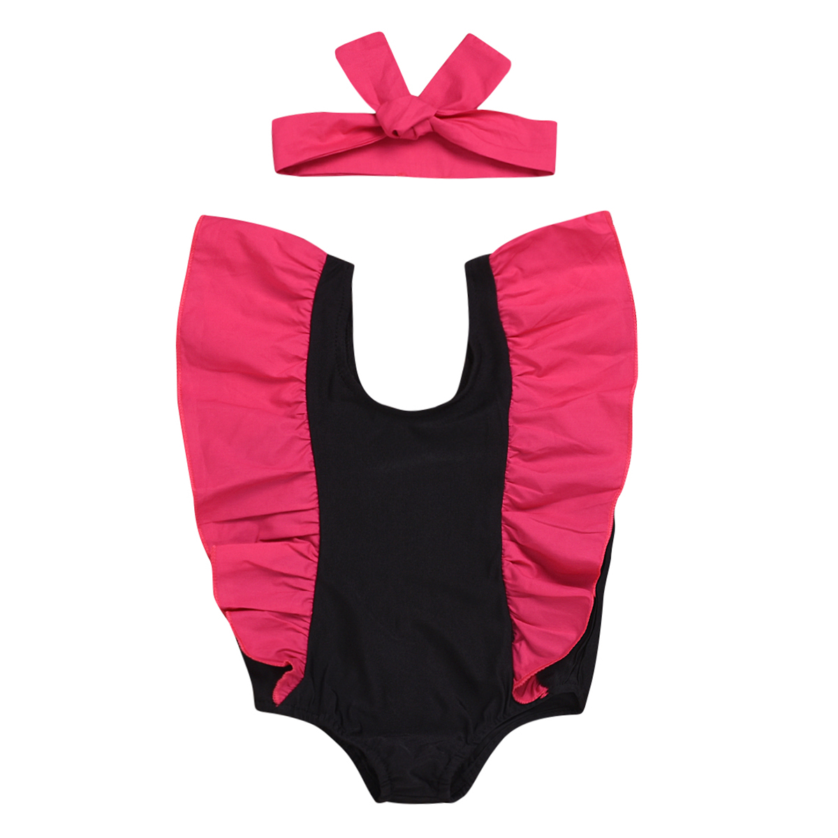 Swimwear For Girls Kid Kids Toddler Baby Girls Ruffled Dot Cross Back Bikini Beach Separate Swimsuit Bathing Swimwear D300221 Swimwear