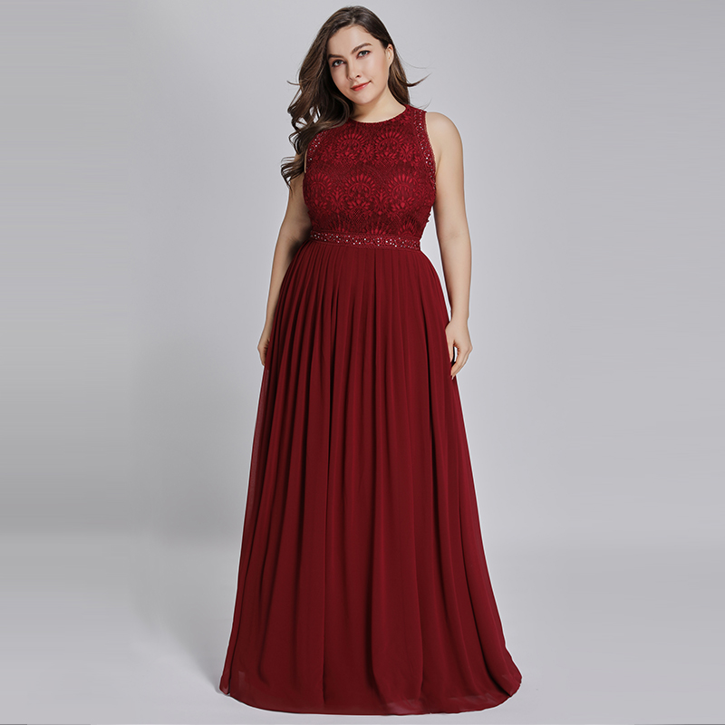 Ladies Evening Dresses 2019 Elegant Burgundy A Line O Neck Sleeveless Lace Appliques Long Evening Gowns 2019 For Wedding Guest