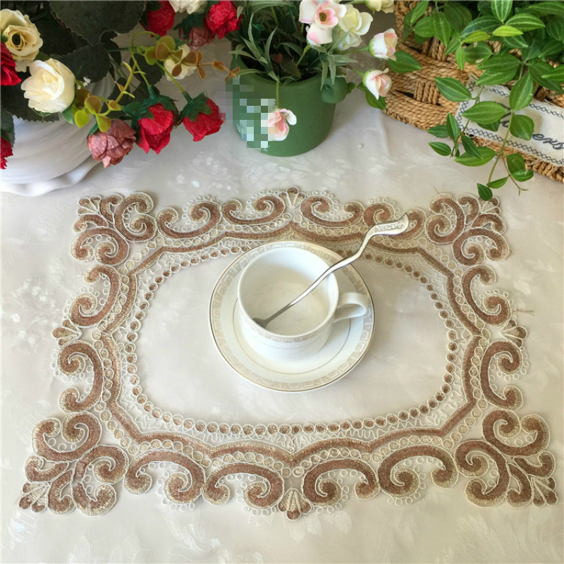 Luxury Transparent Mesh Placemat Cup Coaster Mug Kitchen Wedding Table Place Mat Cloth Tea Coffee Doily Pad Christmas Decoration in Mats Pads from Home Garden