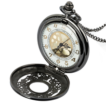 Vintage Black Roman Numerals Steampunk Quartz Necklace Chain Pocket Watch цена