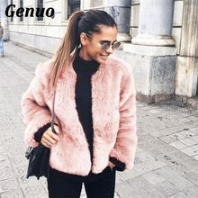 Luxury Fluffy Rabbit Fur Coat Women Winter Collarless Long Sleeve V-neck Fur Jackets Overcoat Wedding Cardigan Short Coat Genuo цена