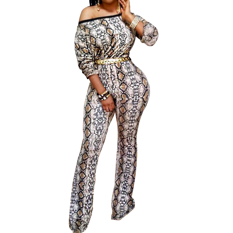 43154ff79139 Snakeskin Print Wide Leg Jumpsuits Woman Long Sleeve One Shoulder One Piece  Pants Rompers Autumn Winter Ladies Party Jumpsuits-in Jumpsuits from  Women s ...