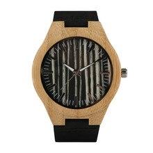 Man's Black Wood Watch Timekeeper Leather Strap Quartz