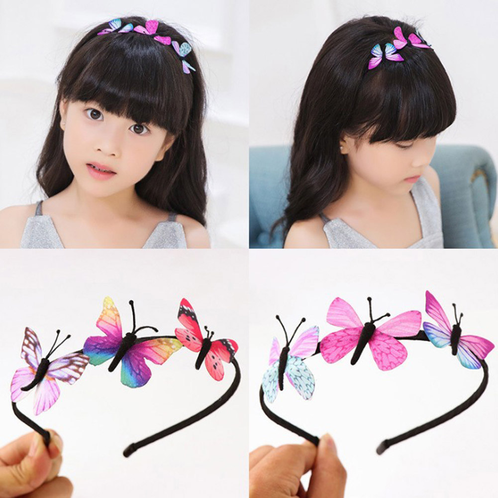 1Pcs Girls Kids Super Fairy Butterfly Headbands Lovely Children's Elastic Hair Bands Party Hair Accessories For Gifts   Headwear