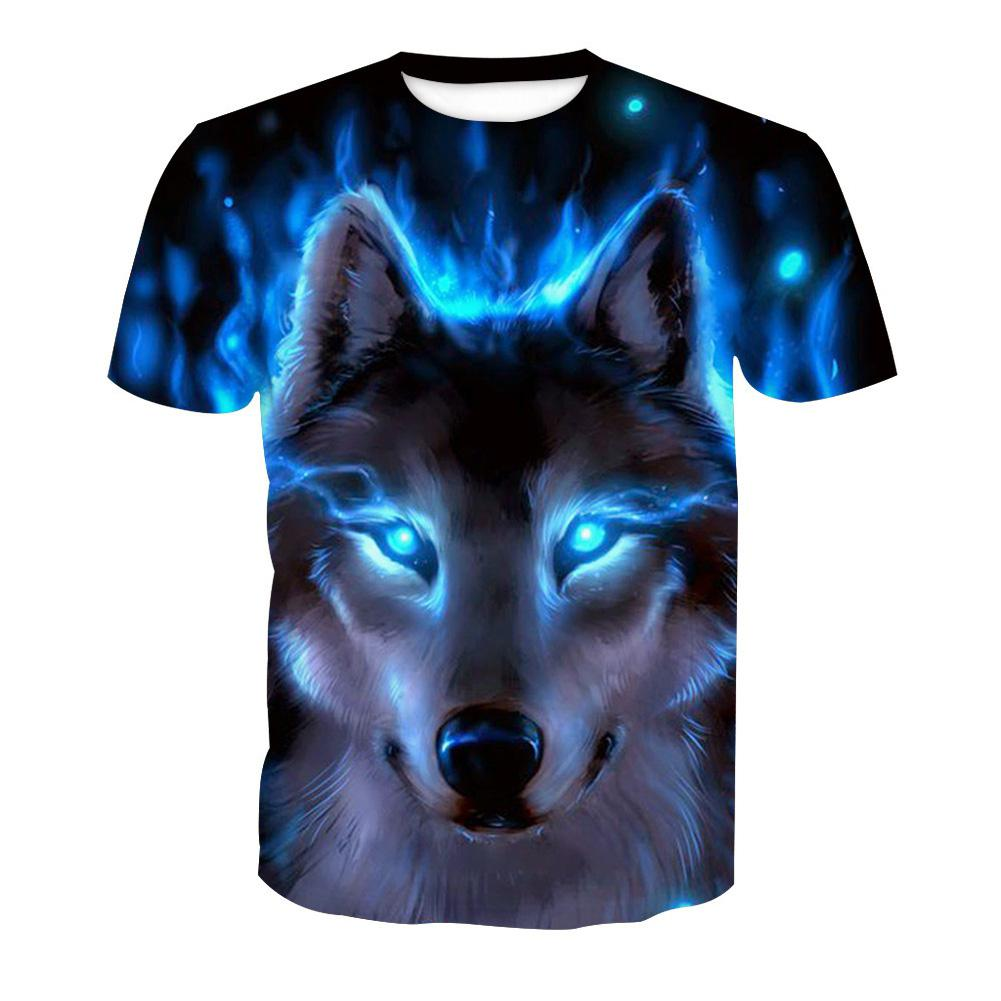 ZACOO Men 3D Blue Wolf Digital Printing Pattern Short Sleeve T-shirt