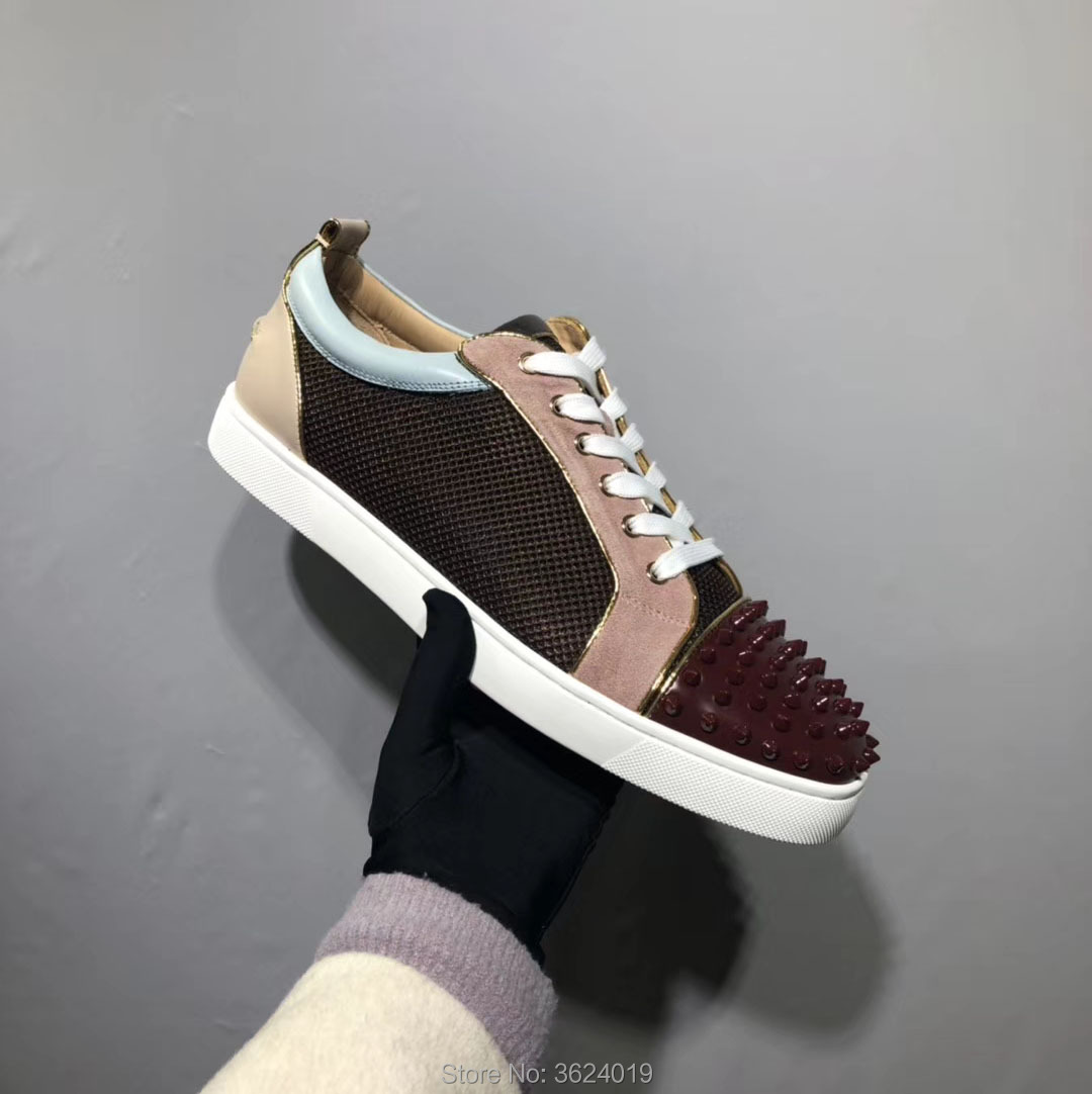 ca520a6e810 Low cut cl andgz Cow leather Fashion Black Rivet front Round Toe Lace Up Red  bottoms