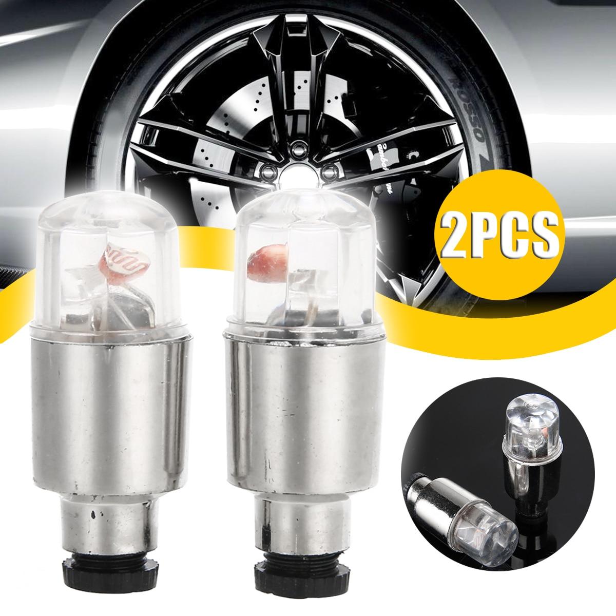 4 PCS Bike Car Motorcycle Wheel Tire Tyre Valve Cap Spoke Neon-LED Flash Lights