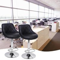 2pcs Adjustable Backrest Swivel Bar Chair Lift Adjustable Height Bar Stools Synthetic Leather Office Cafe Furniture Kit