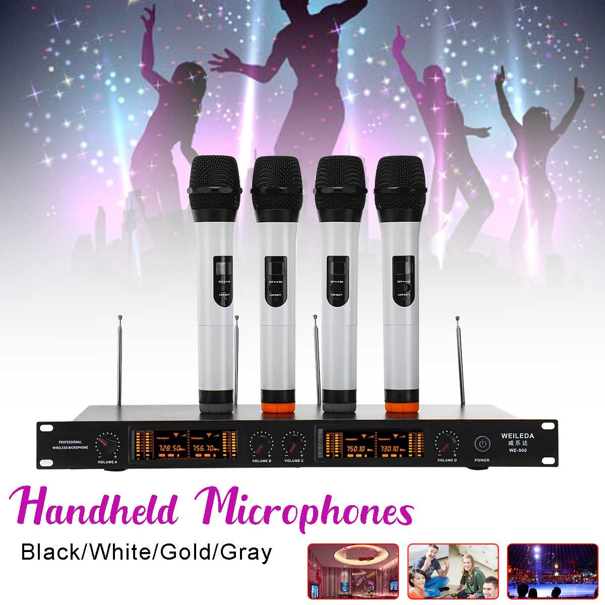 Wireless Microphone UHF 4 Channel Professional LCD Cordless System Headheld Mic 110-220V LED Display Sensitive for KTV StageWireless Microphone UHF 4 Channel Professional LCD Cordless System Headheld Mic 110-220V LED Display Sensitive for KTV Stage
