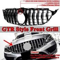 Для Mercedes Benz W205 C200 C250 C300 C350 Глянцевая 2015 18 2Dr/4Dr W205 GTR Стиль автомобиля Передняя решетка решетки черный/серебристый хром