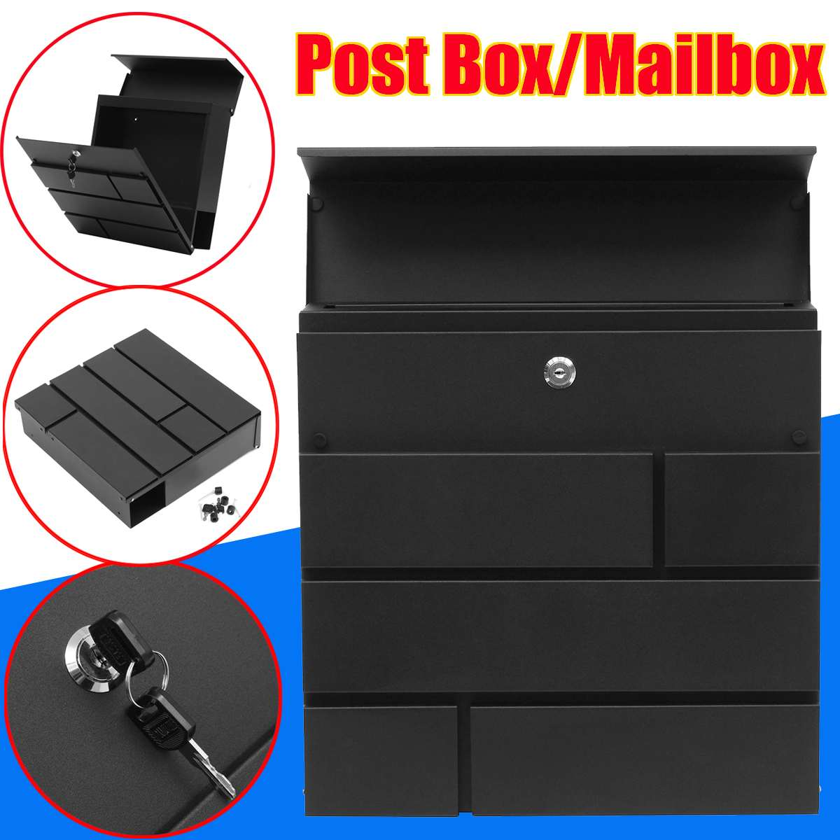 Newspaper Letter Wall Mounted Paint Mailbox Stainless Steel Metal Mail Box Case Post Box Lockable Box