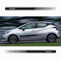 for Nissan Micra Car Body Sticker Customizable Motorsports Door Auto Stickers Decal Car Styling 2pcs Per Set