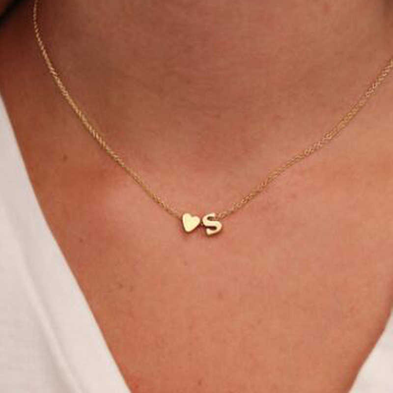Trendy Gold Color Chain Necklace For Women With Letter Pendant Simple Choker Necklace Fashion Jewelry JN0190