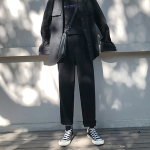 Image 5 - 2019 bahar trendi japon versiyonu okul rüzgar pantolon erkekler gevşek rahat düz renk basit Sweatpants