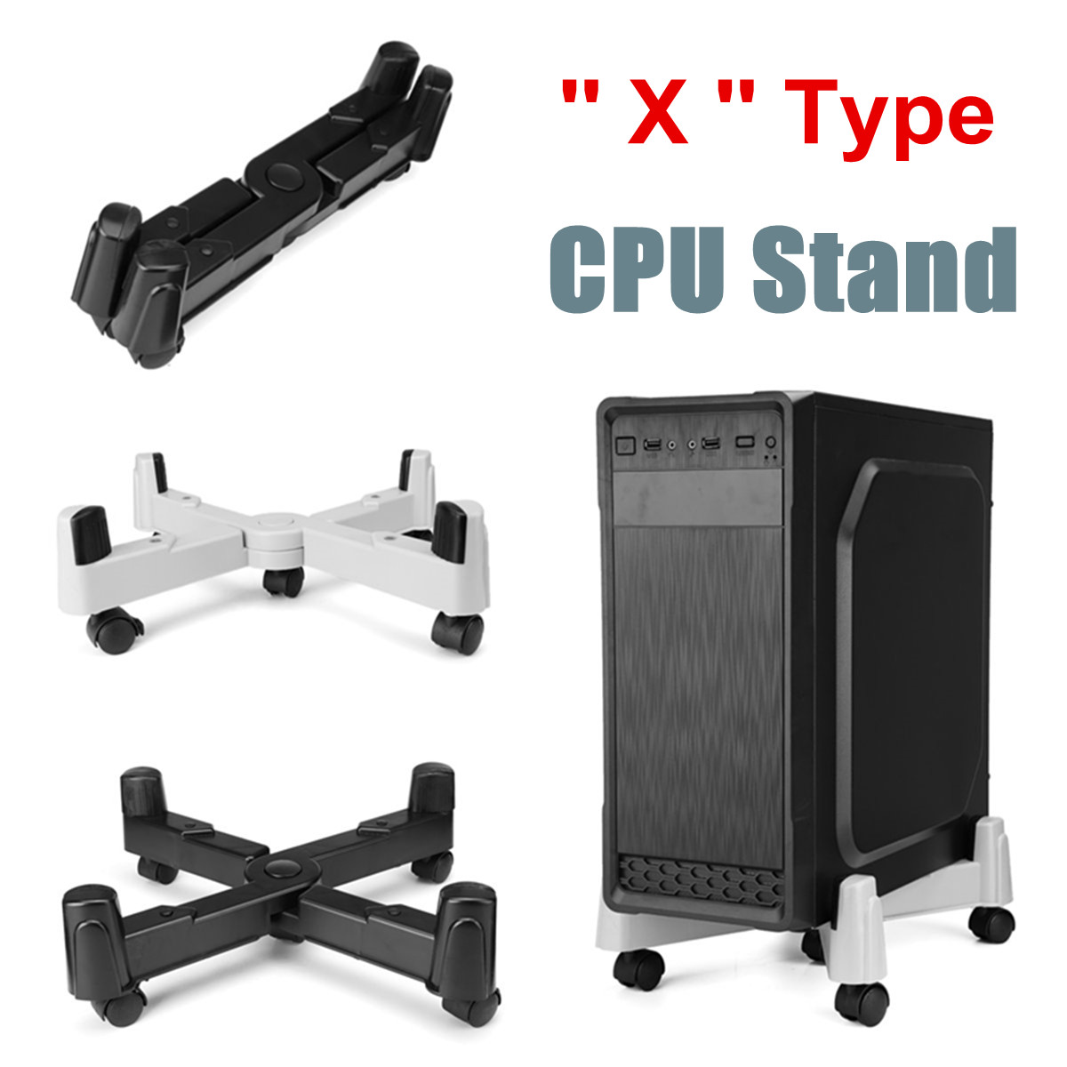PC Computer Adjustable CPU Stand ABS Plastic Tower Case Holder With Swivel Mobile Castors Wheels Home Office Tools Black/White