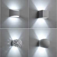 Modern led plaster wall light Creative hademade gypsum sconce lamps with 5W bulb Indoor decoration led wall lights AC110/220V