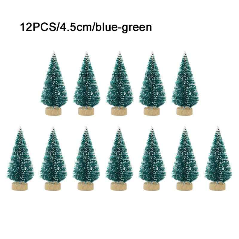 12-Piece Mini Christmas Tree Sisal Silk Cedar - Decoration Small Christmas Tree - Gold Silver Blue Green White Mini Tree