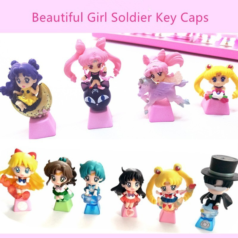 1pc Handmade Customized PBT Key Cap Personality Mechanical Keyboard Keycap For Beautiful Girl Soldier R4 Height Colorful Key Hat