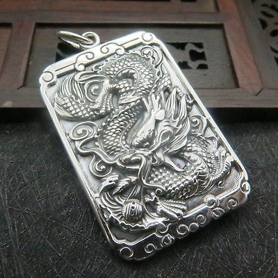 73.Real S925 Sterling Silver Women Men Lucky Dragon Square Pendant 62x34mm73.Real S925 Sterling Silver Women Men Lucky Dragon Square Pendant 62x34mm