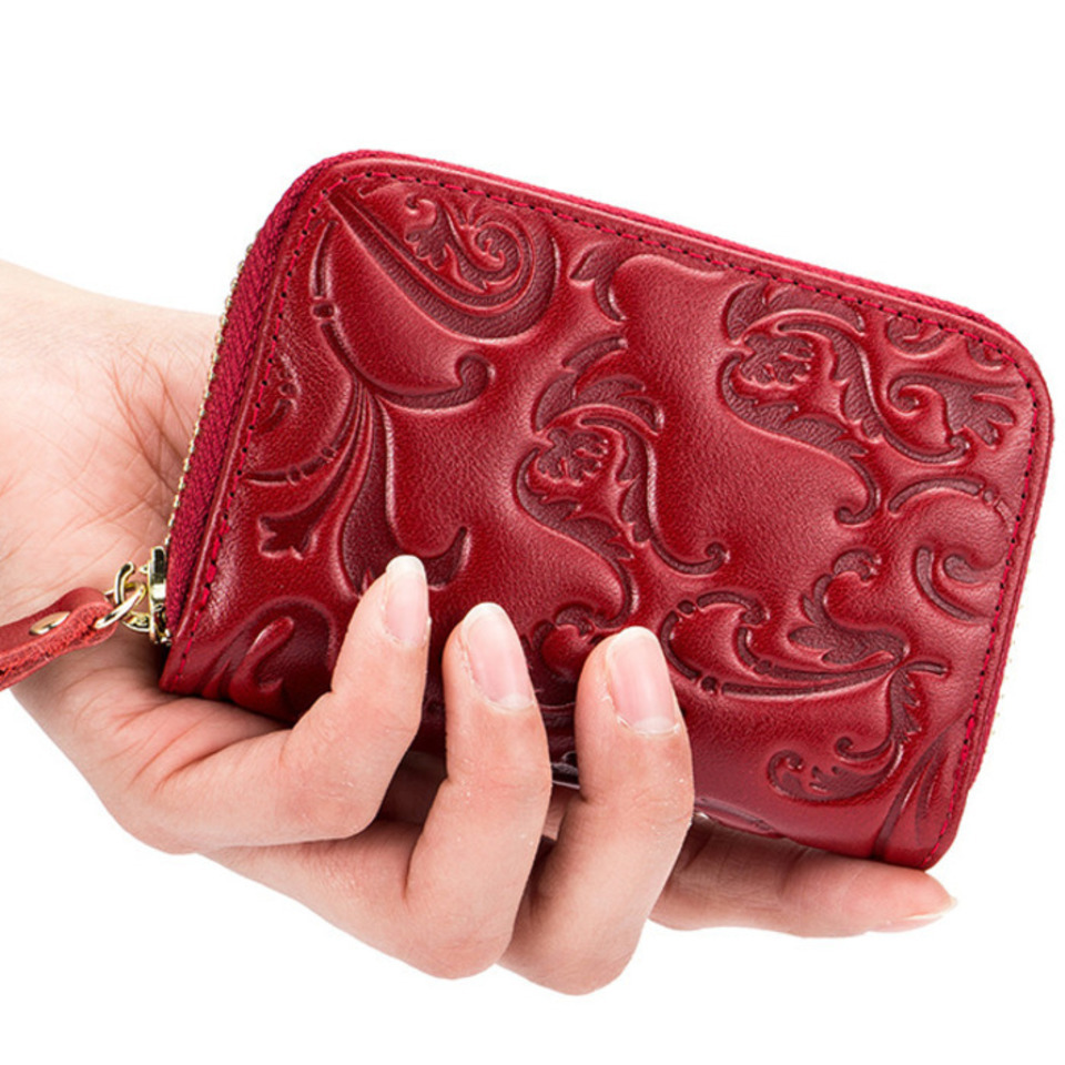 Flower Oil Wax Women's Wallets Made Of Genuine Leather Doka Position Purse Anti RFID Cardholder Large Capacity Bank Card Set