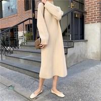 New 2019 Autumn Winter Women Sweater Dress Vintage Turtleneck Loose Knitted Dresses Casual Wear Oversize Mid Dress